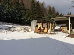 朝は真っ白けだった松本の我家。予定より遅れてスタート。