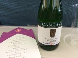 機内でトルコワイン飲んだ。おいちー。
